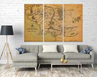 Tolkien's Middle Earth Map Print on Canvas, A Journey Through Middle-Earth, Vintage Map Canvas Print, Framed Wall Art Canvas Print