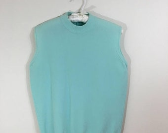 30% Off Sale 70s Turquoise Blue Mock Neck Sleeveless Back Zip Nylon Sweater Shell Top, Medium to Large