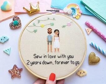 Personalized Wedding Cross Stitch - Cotton Wedding Anniversary Gift - Newlywed Gift - Engagement Cross Stitch - Traditional Wedding Gift -