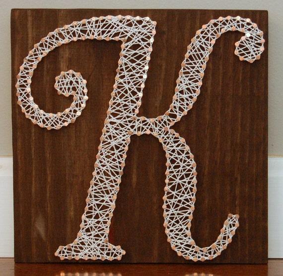 Script K Initial Letter String Art Nail Art Wedding