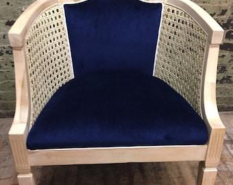 Oak Cane Barrel Chair Navy Velvet