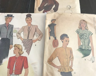 3 original 1940's blouse sewing patterns