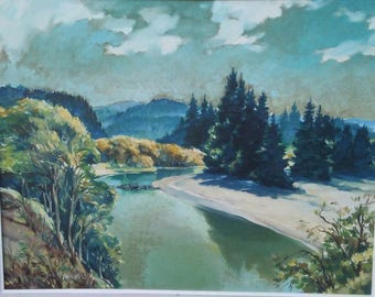 Antique Impressionist Oil Painting By Early California Artist Boris Riedel