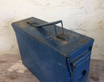 Vintage Blue Metal Ammo Box