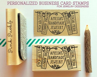Personalized Business Card Stamp, Business Card Rubber Stamp, Jewelry Business Card Stamp