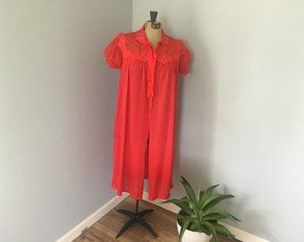 Vintage Adonna Red Chiffon Night Robe size 36