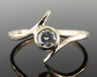 Moissanite and 14k Yellow Gold Bypass Ring, 14k Gold Ring, Moissanite Engagement Ring, Alternative Engagement Ring, Moissanite Ring
