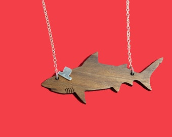 Party Animals  - wooden shark necklace with sterling silver hat or bowtie and chain