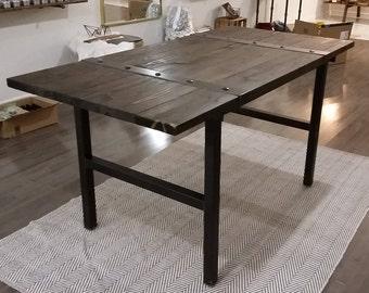 Custom Hand Made Modern Industrial Table, Wood top, Steel legs