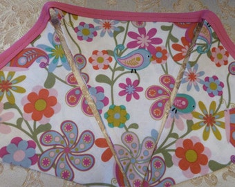 Birdies and Butterflies-  Floral - Picnic, Party,  Playroom,  Bedroom Fabric Bunting Banner Flags - 9 Flags - 8.5  Feet