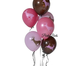 Pink deer balloons, Its a Doe baby shower decorations, buck balloon, girls camo, hunting, 6CT, Sweet 16, hunters, outdoors, woodland, tomboy