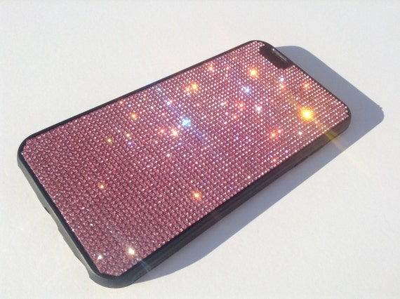 iPhone 6 Plus / iPhone 6s Plus Pink Diamond Crystals on Black Rubber Case. Velvet/Silk Pouch Bag Included, .