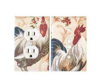 Rooster switch plate  /Kitchen Rooster Inn Roosters Scroll Ecru/Rooster outlet cover