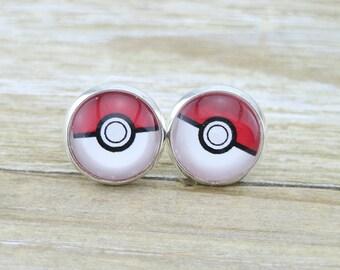 Pokemon Cabochon Plated Silver Stud Earrings