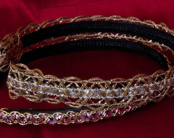Gold Pink Headband with vintage embroidered trim - set of 2