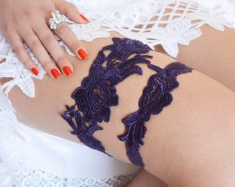Dark Purple Garter Set,  Purple Wedding Garter, Lace Wedding Garter, Dark Purple Garter, Bridal Garter, Wedding Garter Set, Handmade Garter