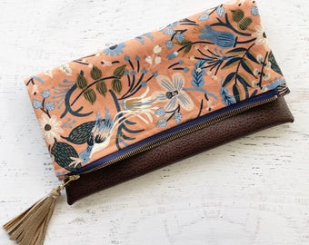 Coral Rifle Paper Co Canvas & Brown Faux Leather Foldover Clutch - Gift for her, Birthday, Anniversary, Bridesmaid