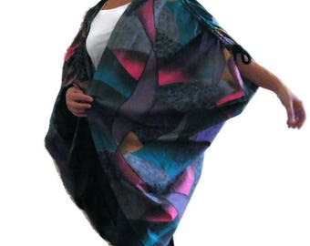 Vintage Plus size cover up Boho oversize kimono Hippie CoverUp Bohemian wrap jacket Summer Abstract  cape