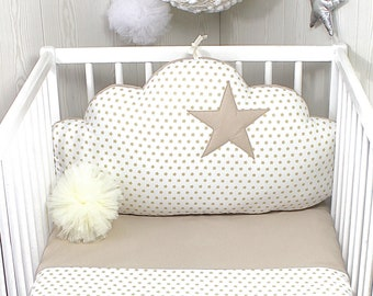 1 Baby cot cloud cushion or pillow, white with beige stars