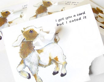 Baby goat card etsy sale funny card set of 4 cute goat art personalized message custom bookmarktalkfo Image collections