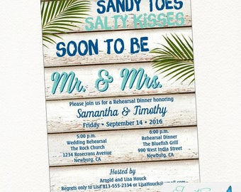 Beach Rehearsal Dinner Invitation | Tropical Invitation, Palm Tree Invitation, Destination Wedding, Rehearsal Dinner Printable Invitation