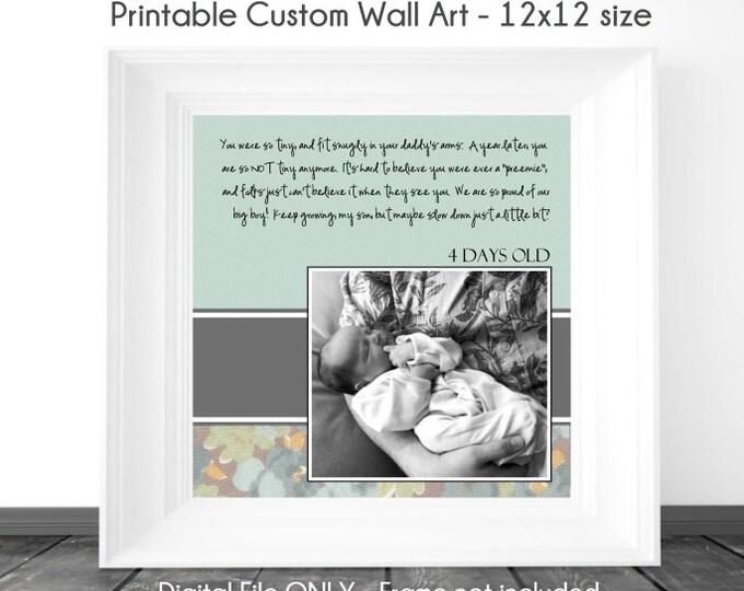 Custom Digital Wall Art, New Baby Printable Wall Art, Nursery Wall Art, Custom Digital Scrapbook Page, YOU PRINT, 12x12