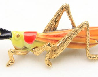 Vintage Art Gold Tone Enamel & Rhinestone Grasshopper Cricket Insect Brooch Pin