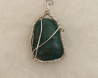 Wire wrapped green stone pendant