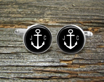 Anchor Monogram Nautical Cufflinks-Wedding-Jewelry Box-Silver-Keepsake-Man gift-Graduation-Men-History-Nautical-Sailing-Ocean-Sailor-Groom