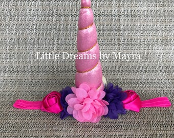 Hot pink and purple unicorn headband, Unicorn birthday party headband inspired fit any size