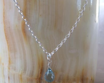 Aquamarine Briolette and Silver Necklace