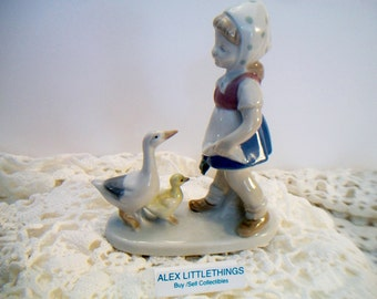 Vintage Girl With Geese Figurine Crown Mark Country Farmhouse Collectible
