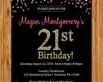 Confetti Gold Glitter Birthday Party Invitation 21st 30th Sweet Sixteen Printable Invite Digital JPG File 5x7 (486)