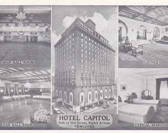 HOTEL CAPITOL POSTCARD, 1954, Used with Postmark, Vintage New York City Colletible Ephemera