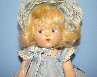 Vogue Toddles Laury Composition Doll Pre Ginny in Blue Taffeta Outfit 8 In 1949
