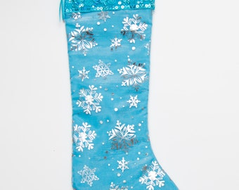 Winter Snowflake Frozen Ice Princess Inspired Skinny Christmas Stocking!  Black Friday Free Shipping
