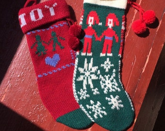 Vintage Christmas Stockings Hand Knitted Xmas Decorations