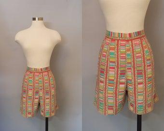 1950s Summer Sorbet Shorts / Rainbow Striped Shorts / 50s Shorts