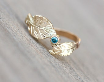 Delicate Autumn Gold Leaf Ring 14k Yellow Bright Blue Diamond Bridal Boho Woodland Nature Fall Foliage Handcarved Double Leaves - Herbstblau