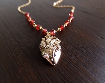 Gold Anatomical Heart Necklace - Garnet Gemstone - January Birthstone - Gold Filled Chain - Gift for Her