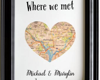 Engagement gifts for couple, engagement gifts for her, where we met, map, heart map, proposal, personalized anniversary gifts for men