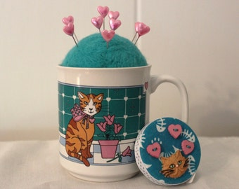 Cat With Tulips Mug Wool Felt Pincushion and Matching Retractable Tape Measure Set