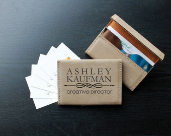 Personalized Business Card Holder, Business Card Holder, Engraved Business Card Holder, Leather Business Card Holder --BCH-LLB-KAUFMAN