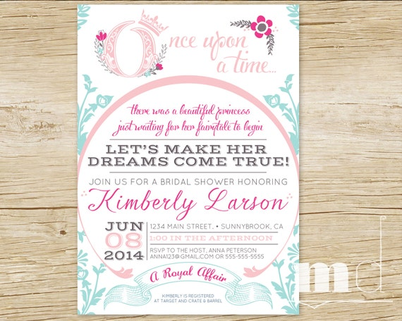 once upon a time bridal shower invitations fairytale bridal