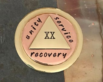 AA Coin | Sobriety Gift | Recovery Coin | 12 Steps | Sobriety AA Medallion | AA Chip | Alcoholics Anonymous | Copper Brass Coin