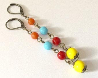 Art Deco Harlequin Earrings - Long Dangly 1920s Flapper Multi Colour Reproduction Vintage Czech Glass Beads