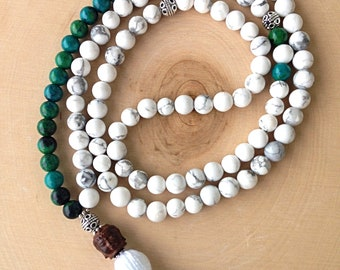 Chrysocolla & Howlite  Mala Prayer 8mm Beads