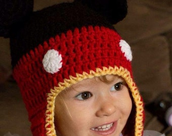 Mickey mouse inspired cocheted winter hat with ear flaps and braids, great birthday or babyshower gift or photo prop. For the Disney lover!