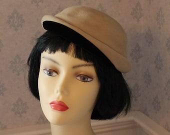 Vintage Mid Century Camel Fur Felt and Black Velvet Sally of Boston Hat