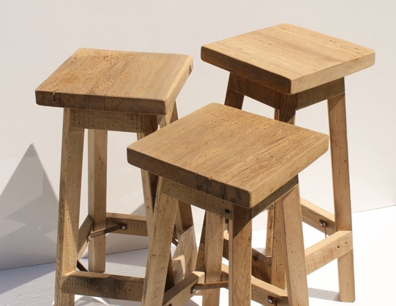 rustic bar stool reclaimed barn wood raw w square top. Black Bedroom Furniture Sets. Home Design Ideas